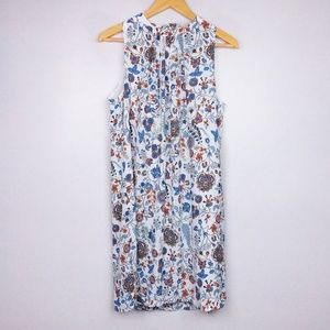 H&M Blue & Orange Floral Halter Neck Mini Dress
